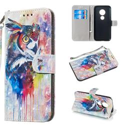 Watercolor Owl 3D Painted Leather Wallet Phone Case for Motorola Moto G7 Play