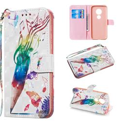 Music Pen 3D Painted Leather Wallet Phone Case for Motorola Moto G7 Play