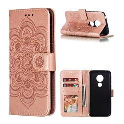 Intricate Embossing Datura Solar Leather Wallet Case for Motorola Moto G7 Play - Rose Gold