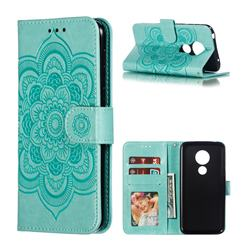 Intricate Embossing Datura Solar Leather Wallet Case for Motorola Moto G7 Play - Green