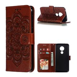Intricate Embossing Datura Solar Leather Wallet Case for Motorola Moto G7 Play - Brown