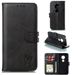 Embossing Happy Cat Leather Wallet Case for Motorola Moto G7 Play - Black