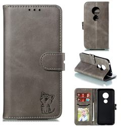 Embossing Happy Cat Leather Wallet Case for Motorola Moto G7 Play - Gray