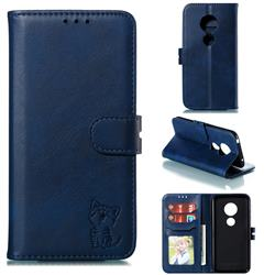 Embossing Happy Cat Leather Wallet Case for Motorola Moto G7 Play - Blue