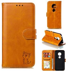 Embossing Happy Cat Leather Wallet Case for Motorola Moto G7 Play - Yellow