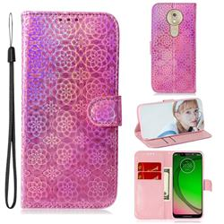 Laser Circle Shining Leather Wallet Phone Case for Motorola Moto G7 Play - Pink