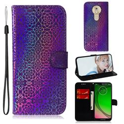 Laser Circle Shining Leather Wallet Phone Case for Motorola Moto G7 Play - Purple