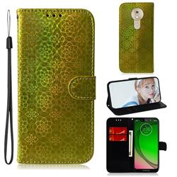 Laser Circle Shining Leather Wallet Phone Case for Motorola Moto G7 Play - Golden