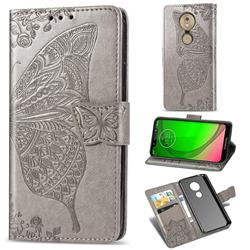Embossing Mandala Flower Butterfly Leather Wallet Case for Motorola Moto G7 Play - Gray