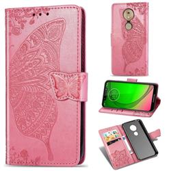 Embossing Mandala Flower Butterfly Leather Wallet Case for Motorola Moto G7 Play - Pink