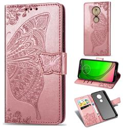 Embossing Mandala Flower Butterfly Leather Wallet Case for Motorola Moto G7 Play - Rose Gold