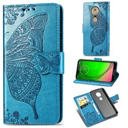 Embossing Mandala Flower Butterfly Leather Wallet Case for Motorola Moto G7 Play - Blue