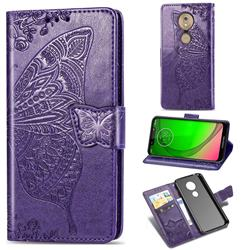 Embossing Mandala Flower Butterfly Leather Wallet Case for Motorola Moto G7 Play - Dark Purple