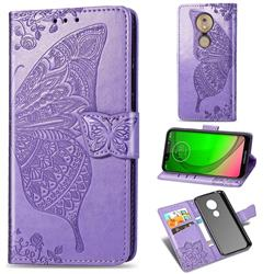 Embossing Mandala Flower Butterfly Leather Wallet Case for Motorola Moto G7 Play - Light Purple