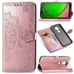 Embossing Imprint Mandala Flower Leather Wallet Case for Motorola Moto G7 Play - Rose Gold