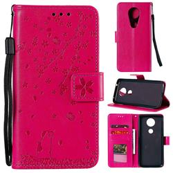 Embossing Cherry Blossom Cat Leather Wallet Case for Motorola Moto G7 Play - Rose