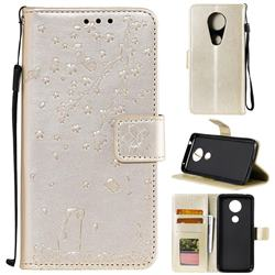 Embossing Cherry Blossom Cat Leather Wallet Case for Motorola Moto G7 Play - Golden