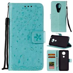 Embossing Cherry Blossom Cat Leather Wallet Case for Motorola Moto G7 Play - Green