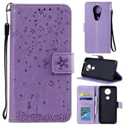 Embossing Cherry Blossom Cat Leather Wallet Case for Motorola Moto G7 Play - Purple