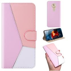 Tricolour Stitching Wallet Flip Cover for Motorola Moto G7 Play - Pink