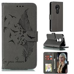 Intricate Embossing Lychee Feather Bird Leather Wallet Case for Motorola Moto G7 Play - Gray