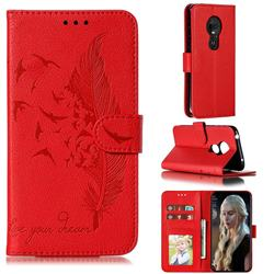 Intricate Embossing Lychee Feather Bird Leather Wallet Case for Motorola Moto G7 Play - Red