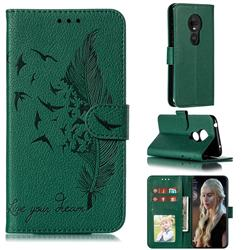 Intricate Embossing Lychee Feather Bird Leather Wallet Case for Motorola Moto G7 Play - Green