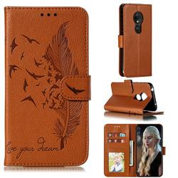 Intricate Embossing Lychee Feather Bird Leather Wallet Case for Motorola Moto G7 Play - Brown