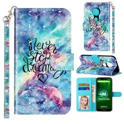 Blue Starry Sky 3D Leather Phone Holster Wallet Case for Motorola Moto G7 Play
