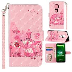 Pink Bear 3D Leather Phone Holster Wallet Case for Motorola Moto G7 Play