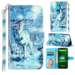 Snow Wolf 3D Leather Phone Holster Wallet Case for Motorola Moto G7 Play
