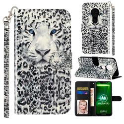 White Leopard 3D Leather Phone Holster Wallet Case for Motorola Moto G7 Play