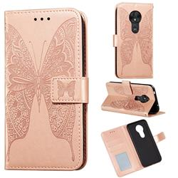 Intricate Embossing Vivid Butterfly Leather Wallet Case for Motorola Moto G7 Play - Rose Gold