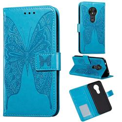 Intricate Embossing Vivid Butterfly Leather Wallet Case for Motorola Moto G7 Play - Blue
