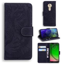 Intricate Embossing Tiger Face Leather Wallet Case for Motorola Moto G7 Play - Black