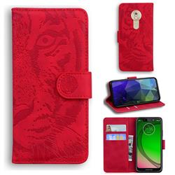 Intricate Embossing Tiger Face Leather Wallet Case for Motorola Moto G7 Play - Red