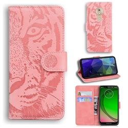 Intricate Embossing Tiger Face Leather Wallet Case for Motorola Moto G7 Play - Pink