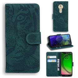 Intricate Embossing Tiger Face Leather Wallet Case for Motorola Moto G7 Play - Green