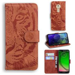 Intricate Embossing Tiger Face Leather Wallet Case for Motorola Moto G7 Play - Brown