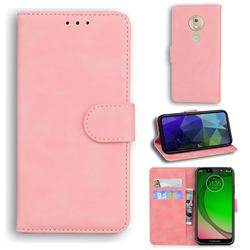 Retro Classic Skin Feel Leather Wallet Phone Case for Motorola Moto G7 Play - Pink