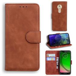 Retro Classic Skin Feel Leather Wallet Phone Case for Motorola Moto G7 Play - Brown