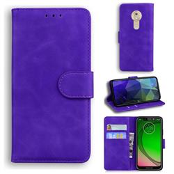 Retro Classic Skin Feel Leather Wallet Phone Case for Motorola Moto G7 Play - Purple