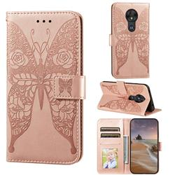 Intricate Embossing Rose Flower Butterfly Leather Wallet Case for Motorola Moto G7 Play - Rose Gold