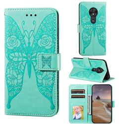 Intricate Embossing Rose Flower Butterfly Leather Wallet Case for Motorola Moto G7 Play - Green