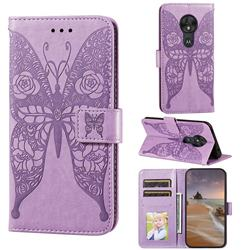 Intricate Embossing Rose Flower Butterfly Leather Wallet Case for Motorola Moto G7 Play - Purple