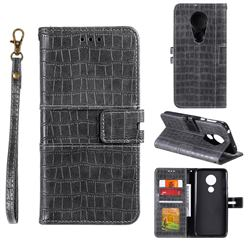 Luxury Crocodile Magnetic Leather Wallet Phone Case for Motorola Moto G7 Play - Gray