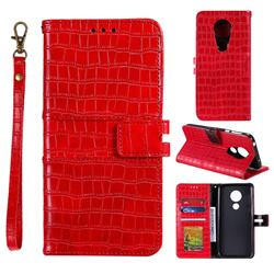 Luxury Crocodile Magnetic Leather Wallet Phone Case for Motorola Moto G7 Play - Red