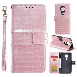 Luxury Crocodile Magnetic Leather Wallet Phone Case for Motorola Moto G7 Play - Rose Gold