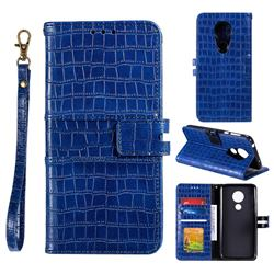 Luxury Crocodile Magnetic Leather Wallet Phone Case for Motorola Moto G7 Play - Blue
