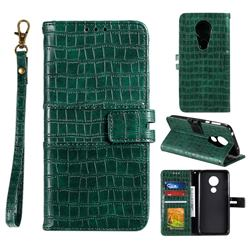 Luxury Crocodile Magnetic Leather Wallet Phone Case for Motorola Moto G7 Play - Green